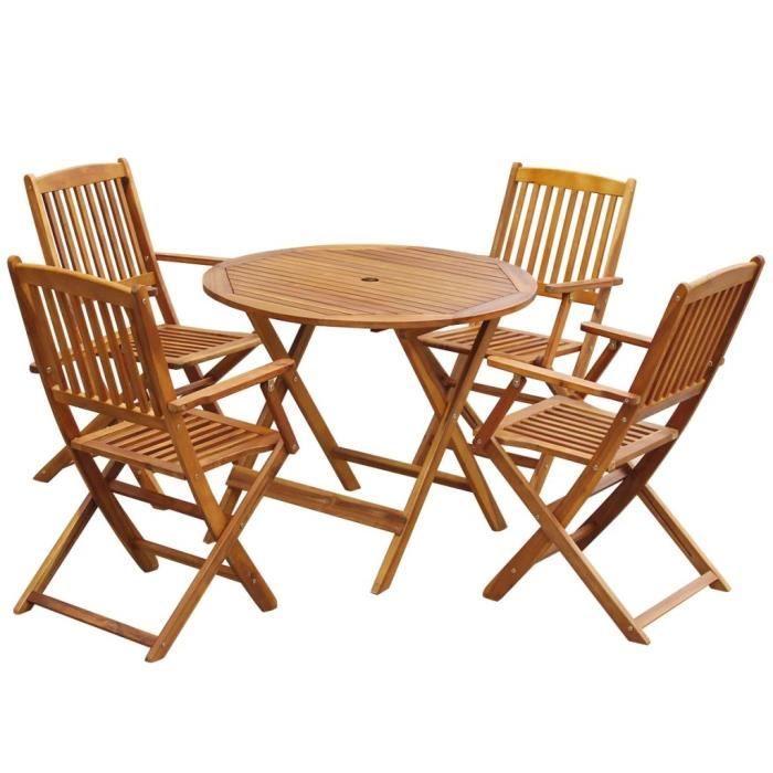 Mobilier à dîner d'extérieur pliable 5 pcs Bois d'acacia solide HB43380 Livraison Rapide VGEBY