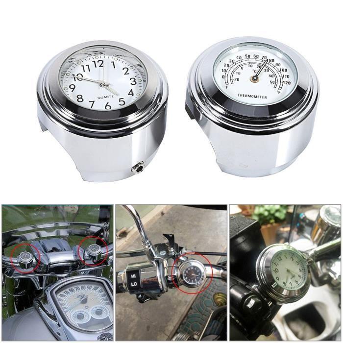 Montre de guidon pour moto horloge 7-8- 1- Support de guidon Tableau de bord blanc & Thermomètre
