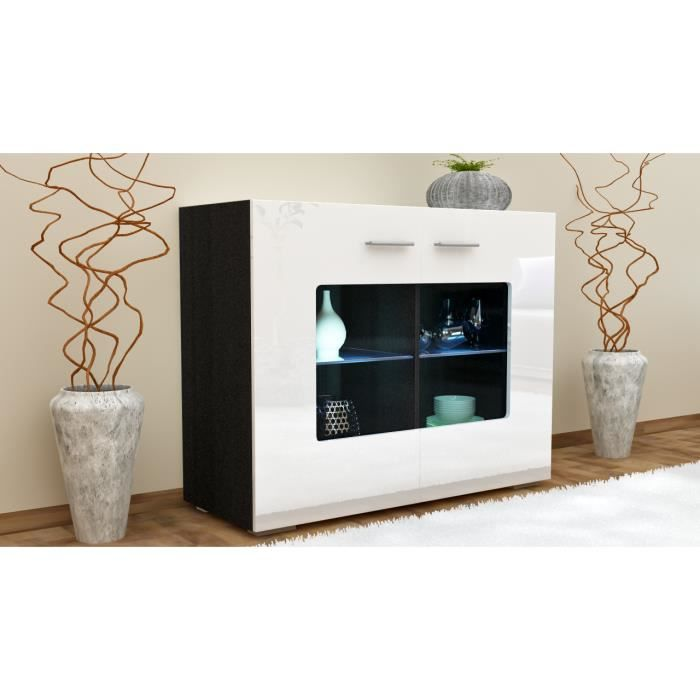 buffet noir et blanc avec vitrine 92 cm achat vente buffet bahut buffet noir et blanc avec. Black Bedroom Furniture Sets. Home Design Ideas