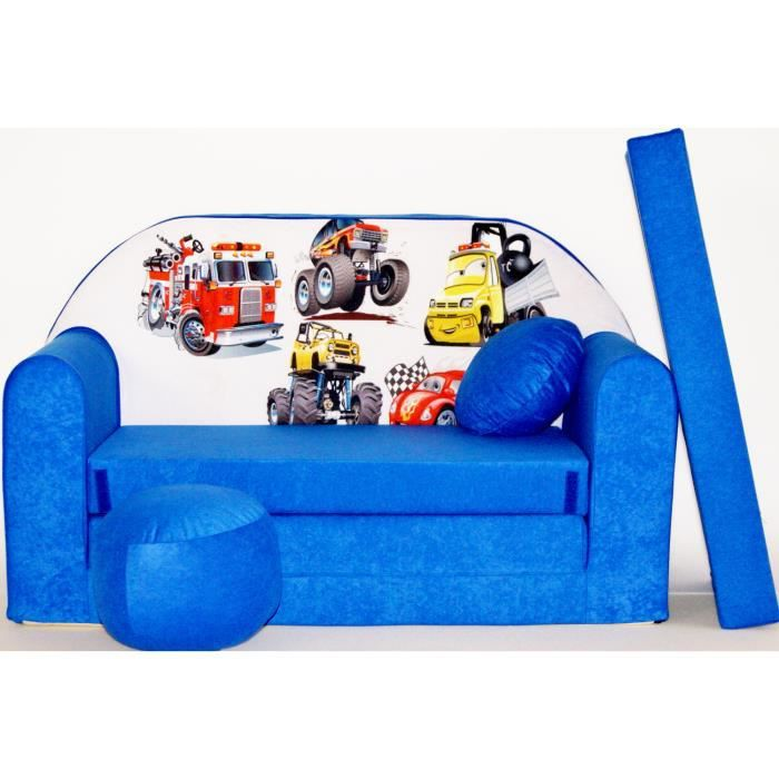 canape sofa enfant 2 places convertible voitures bleu. Black Bedroom Furniture Sets. Home Design Ideas
