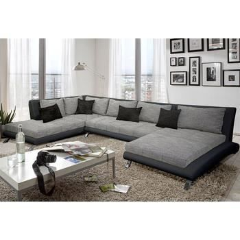 canap d 39 angle en pu noir et tissu gris duccio angle gauche achat vente canap sofa. Black Bedroom Furniture Sets. Home Design Ideas