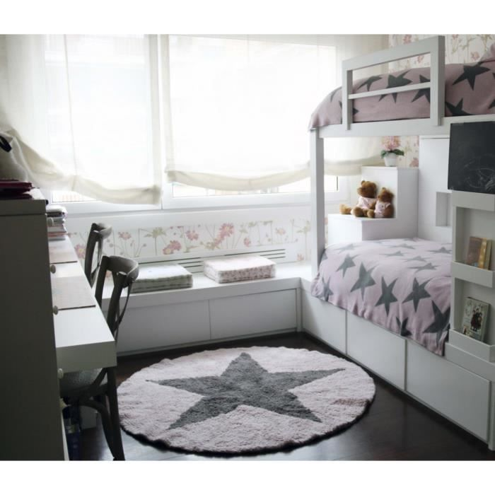 tapis rond r versible rose en coton pour enfant round star lorena canals 140cm rose. Black Bedroom Furniture Sets. Home Design Ideas