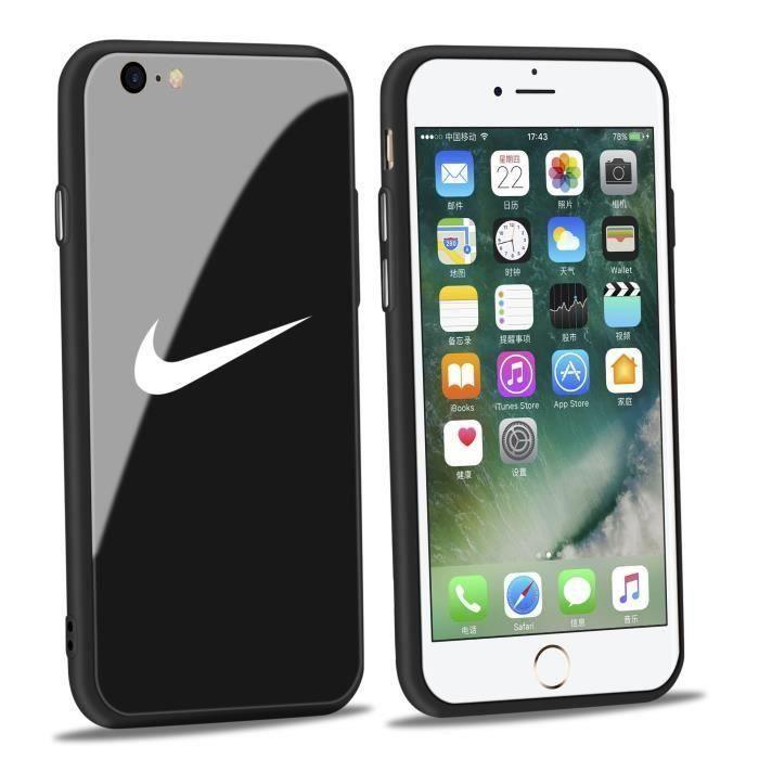 coque iphone 6 plus 6s plus nike noir verre coque