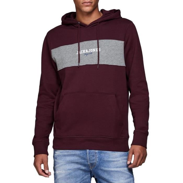 Sweat Jack and Jones Jorjosh Grenat Homme Rouge Rouge - Achat ... 32cf9f3f3a15