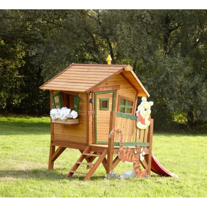 axi maisonnette enfant cabane en bois winnie l 39 ourson achat vente maisonnette ext rieure. Black Bedroom Furniture Sets. Home Design Ideas