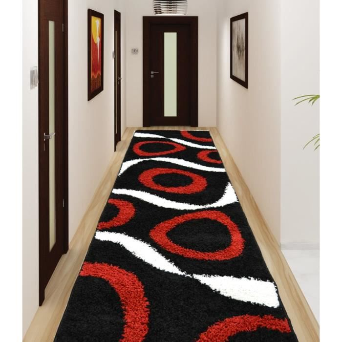 tapis shaggy sensation noir et rouge 80x300 cm achat. Black Bedroom Furniture Sets. Home Design Ideas
