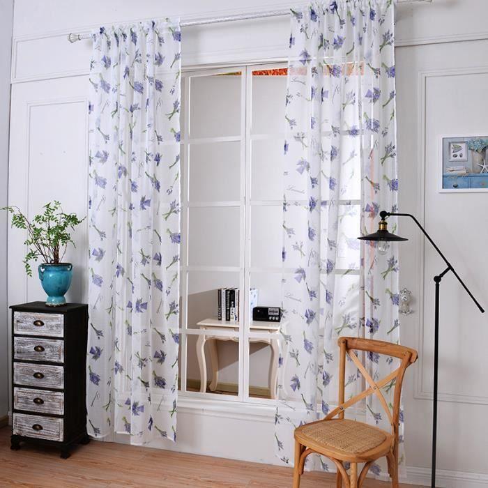 RIDEAU Rideau Voilages 2 Pcs,Lavande romantique,Polyester