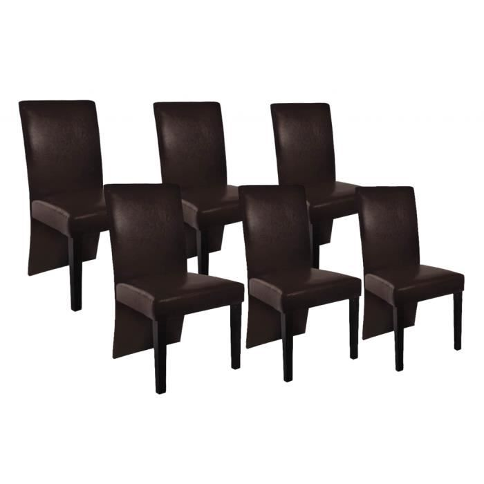 chaise design bois marron lot de 6 achat vente. Black Bedroom Furniture Sets. Home Design Ideas