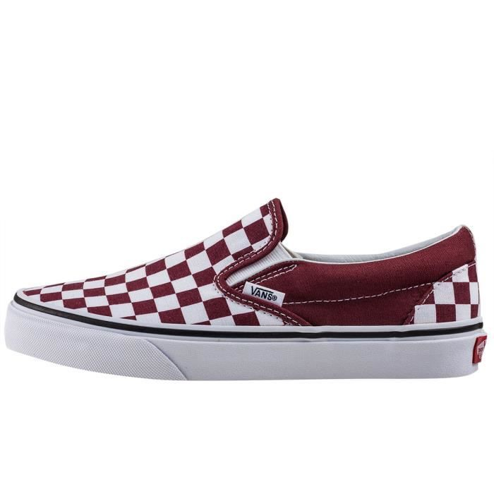 Vans Classic Slip-on Checkerboard Femmes Chaussures sans lacets Bourgogne Blanc - 7 UK 5uUXfYCYr