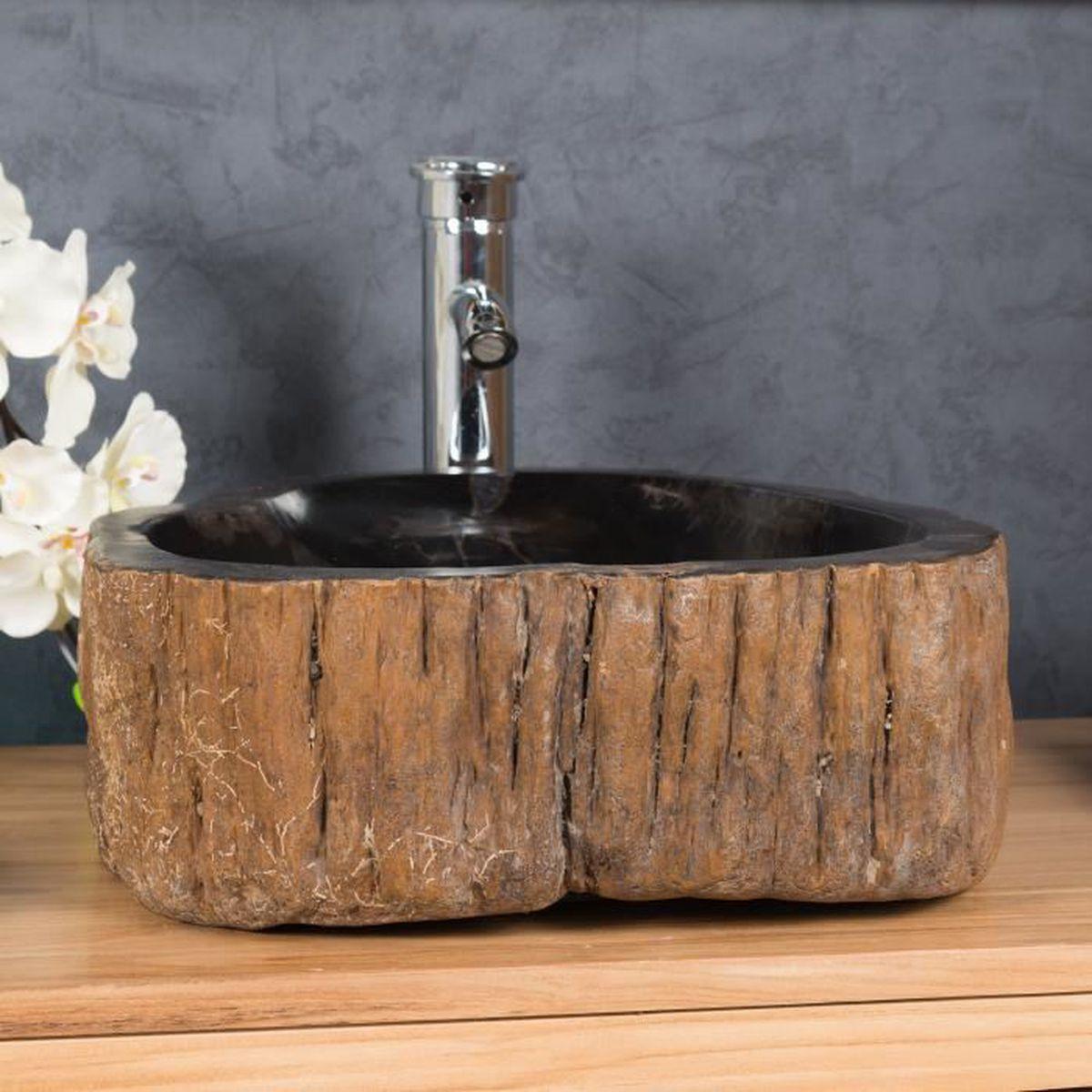 Vasque de salle de bain en pierre bois pétrifié fossilisé noir 20