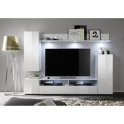 MEUBLE TV DOS Meuble TV mural contemporain blanc brillant -