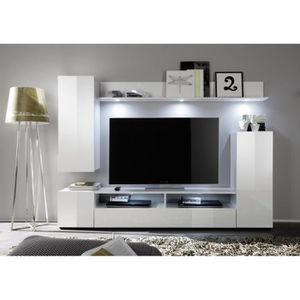 Dos meuble tv mural avec clairage led 208cm blanc for Meuble tv 30 euros