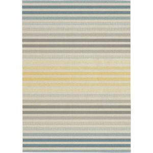 TAPIS Tapis tissé plat Stripe 160x230 cm gris et jaune
