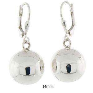Argent Sterling 925 ballon rond haute poli Leverback Boucles d/'oreilles pendantes