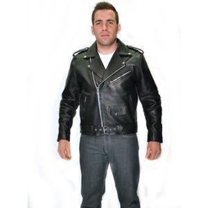 BLOUSON - VESTE BLOUSON NOIR MOTO BIKER Cuir HOMME PERFECTO M