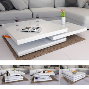 TABLE BASSE Table basse de salon moderne - 60 x 60 cm - Blanc