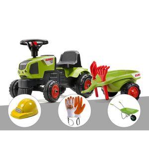 TRACTEUR - CHANTIER Tracteur enfant Claas Axos + remorque + accessoire