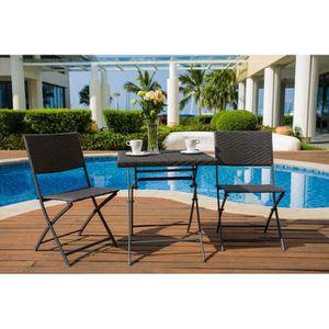 Ensemble table et chaise de jardin FINLANDEK - Set Bistrot 2 places en résine tressée