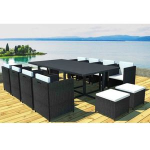 salon de jardin r sine tress e 12 places achat vente salon de jardin r sine tress e 12. Black Bedroom Furniture Sets. Home Design Ideas