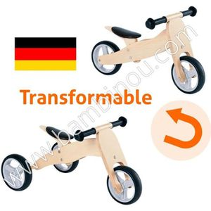 DRAISIENNE Mini Draisienne tricycle bois massif 4 en 1 Charli