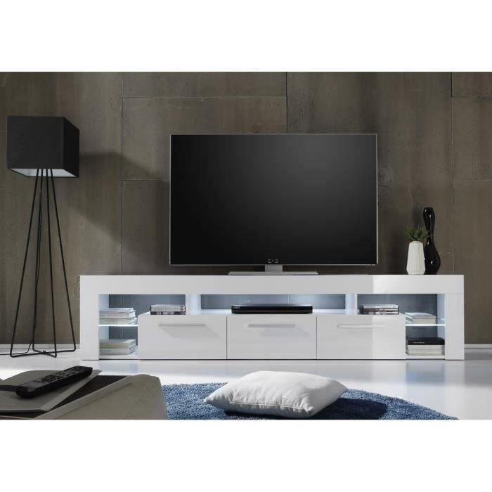 score meuble tv contemporain blanc brillant l 200 cm achat vente meuble tv score meuble tv. Black Bedroom Furniture Sets. Home Design Ideas