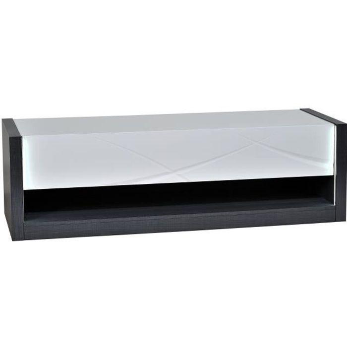 ELYPSE Meuble TV 1 tiroir - Laqué blanc brillant et papier décor Esche Prato - L 150 x P 50 x H 45 cm