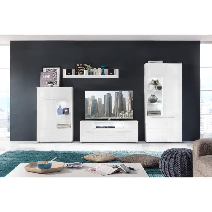 MEUBLE TV VISION Meuble TV mural avec LED contemporain blanc