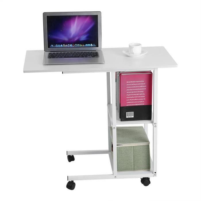 Table de lit sur roulettes - Bureau à la maison Portable sur table de lit(blanche)-GUA