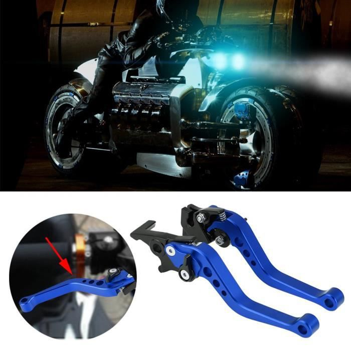 Paire poignées levier frein à tambour moto universelles 22mm 7-8 CNC en aluminium bleu-LAT