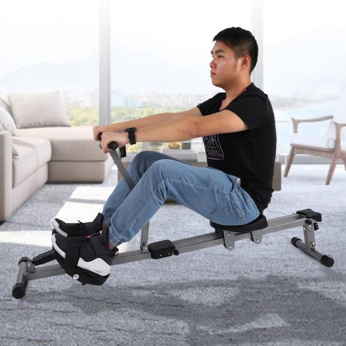 Machine à ramer en acier Cardio Rower Workout Body Training Accessoire de fitness à domicile -JIL