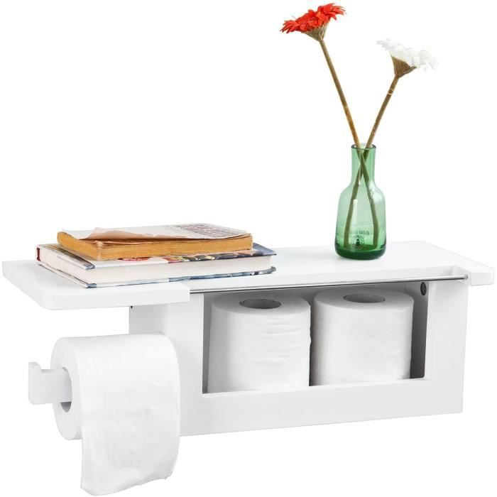 SoBuy® FRG175-W Dérouleur Papier Toilette - Distributeur WC Porte Papier Mural Avec Support Pour Déposer Smartphone et Porte-revues