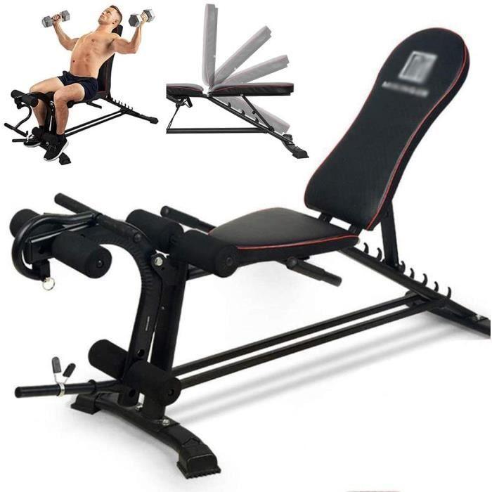 Multifonction Haltère Banc, Banc de Musculation réglable, Sit Up AB Workout Banc, Banc de Remise en Forme avec Extension Jambe Leg C