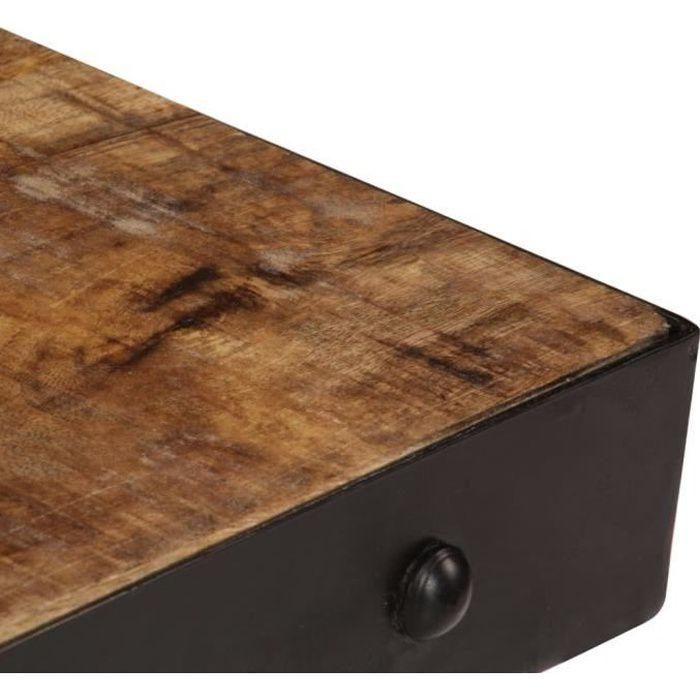 KAI Table basse avec roulettes Bois de manguier massif 100x60x26 cm