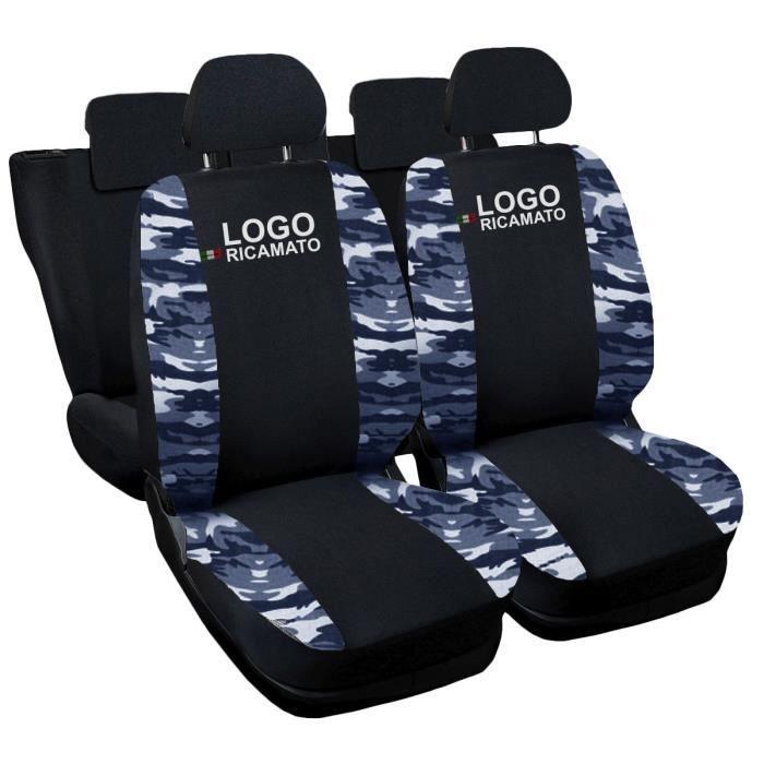 Housses de siège deux-colorés pour Jeep Renegade - noir cam. Bleu