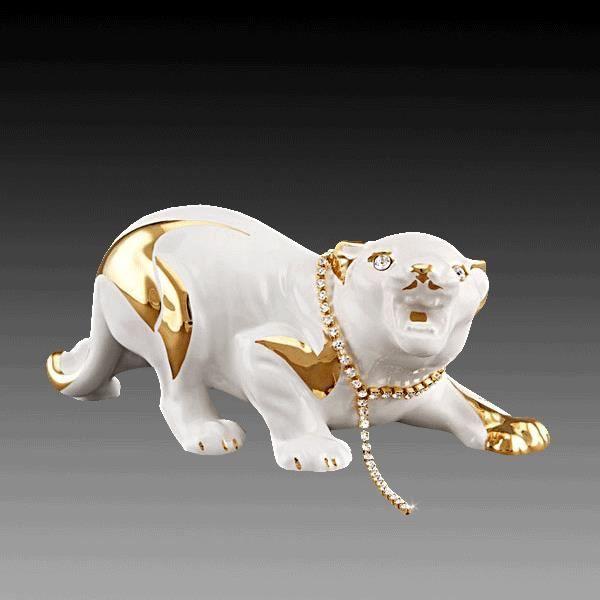 Tigre blanc qui rugit swarovski elements 21 x 9 x10 cm