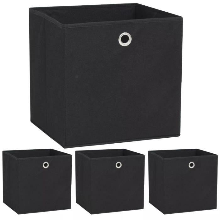 Boîte de rangement 4 pcs - Chariot à Outils Caisse à Outils - Tissu non-tissé 32 x 32 x 32 cm Noir