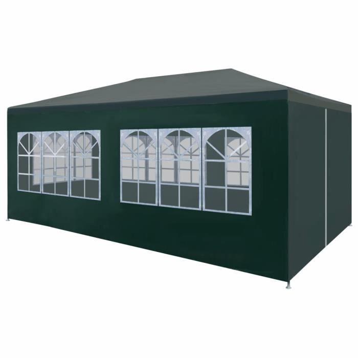 Tonnelle de Jardin Tente Réception Pavillon Barnum Chapiteau Pliante Pliable 3 x 6 m Vert★5284