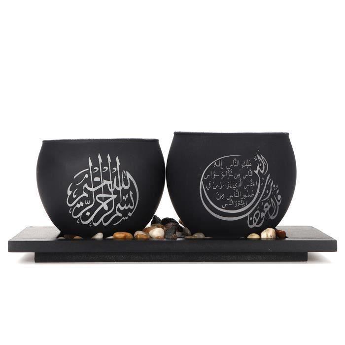 Bougeoir en Verre Musulman islamique Avec Caillou LED Décor Ramadan Cadeau NOIR S ma15023