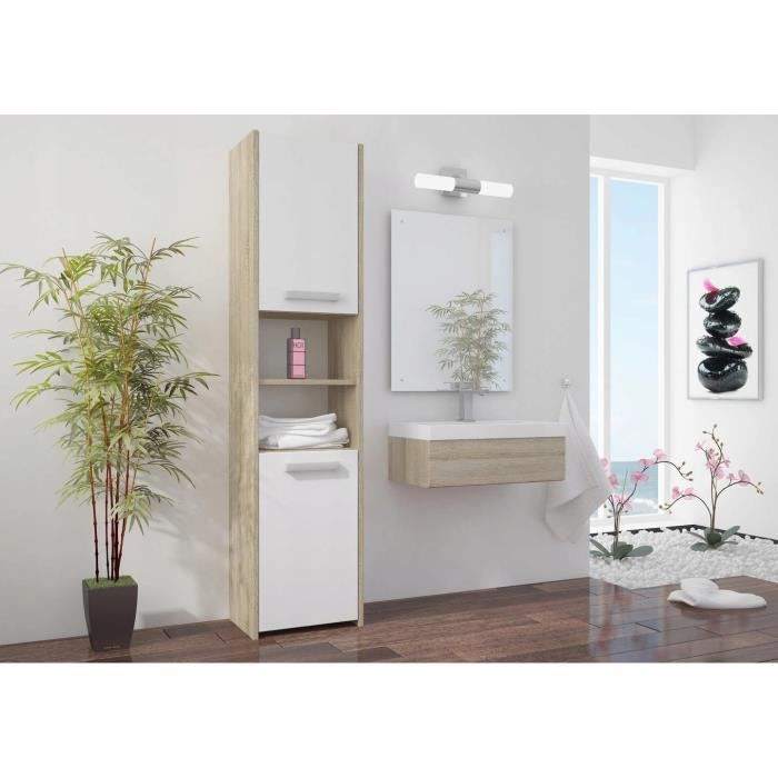 PRAGUE W1 - Meuble Colonne de salle de bain 30x30x170 - Rangement salle de bain contemporain - Armoire Toilette - Colonne rangement