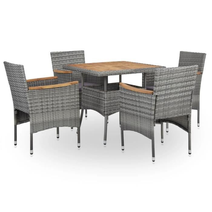 Salon de jardin 5 pcs Ensemble table à manger de 4 personnes + 4 chaises - - Gris Résine tressée et bois d'acacia Super *841229