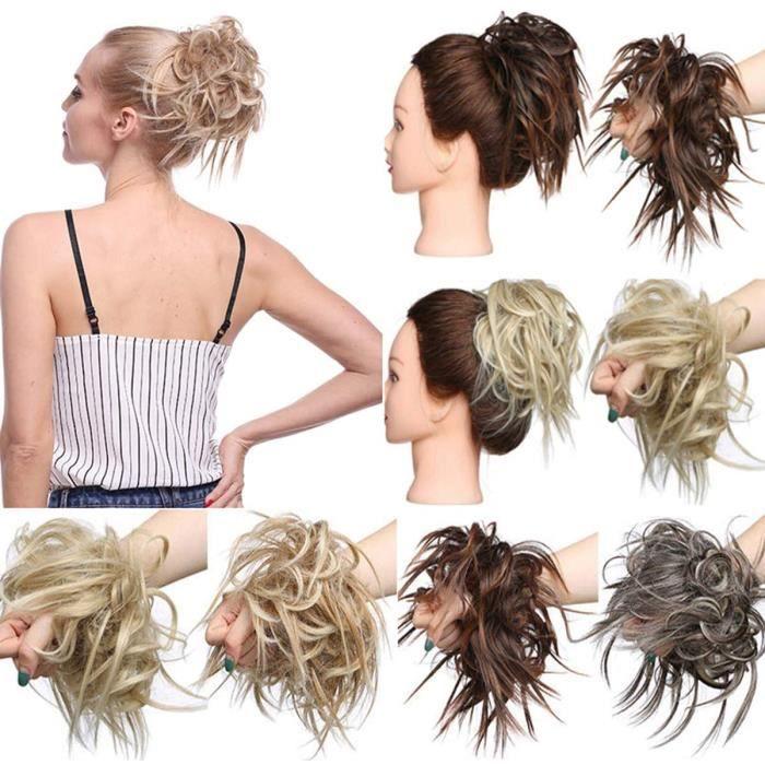 Extensions de cheveux Extension a clip cheveux naturel Chignons Postiche Cheveux Caoutchouc Chouchou Chouchous VOLUMINEU 26316