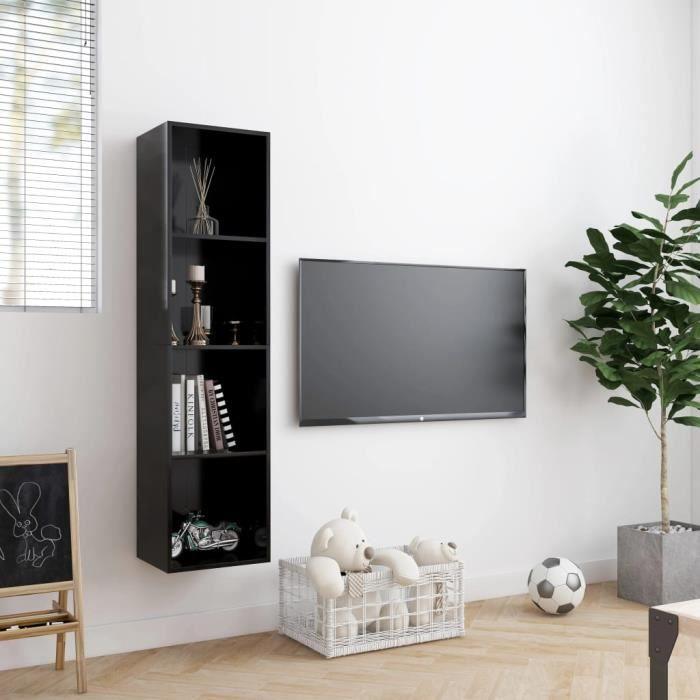 776640 - Design Furniture - Bibliothèque-Meuble TV Contemporain - Meuble Étagère Etagère de Rangement Meuble HI-FI - Noir 143 x 30 x