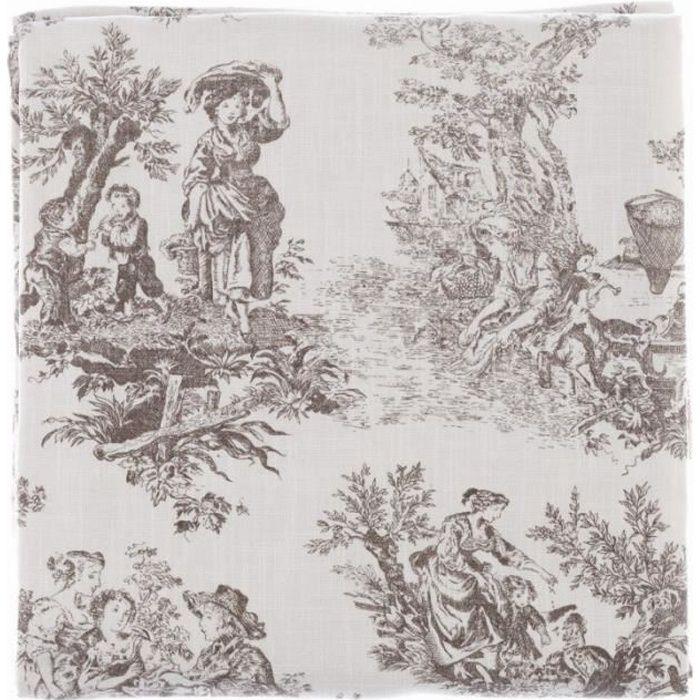 Blanc Mariclo - Nappe / couvre lit 'Toile de Jouy' 180 x 240 cm en coton