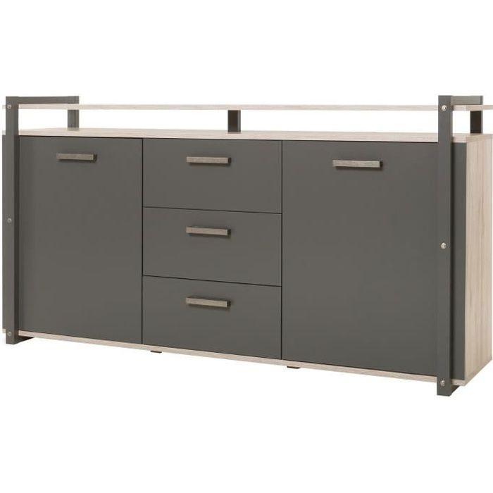 BROOKLYN Buffet bas industriel décor chêne et gris anthracite - L 180 cm