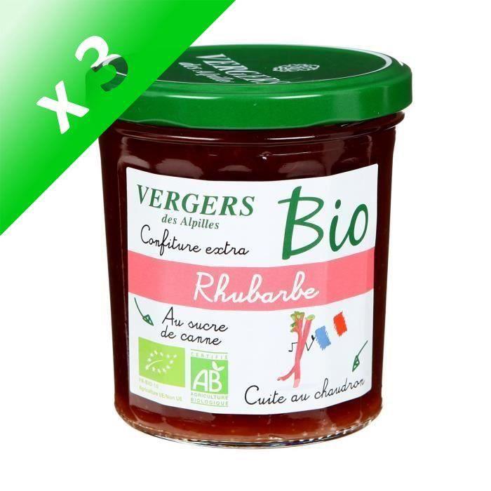 [LOT DE 3] Confiture extra rhubarbe bio - Vergers des Alpilles - 370 g