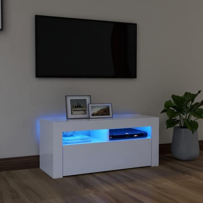 WONG Meuble TV avec lumières LED Avec design à la fois tendance et pratique Blanc 90x35x40 cm