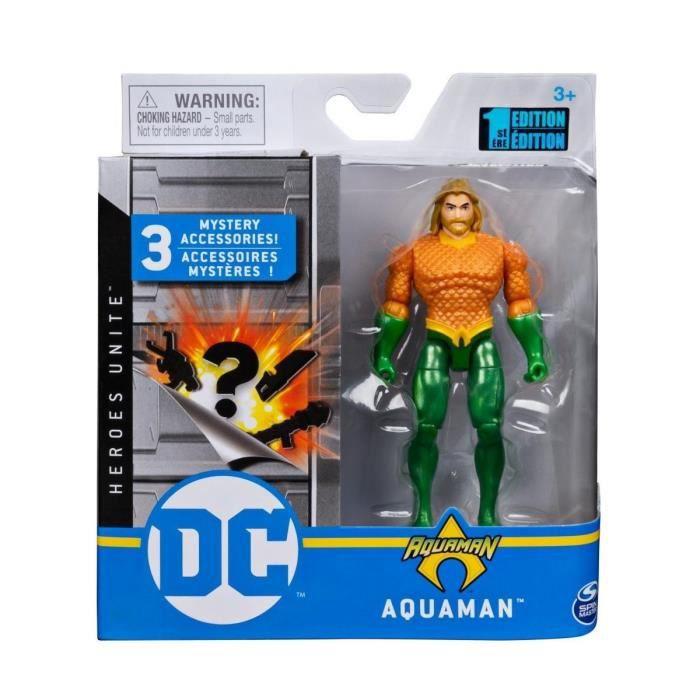 Coffret Figurine Aquaman 10 cm Avec 3 Accessoires Mystere - Personnage DC - Super Heros - Jouet Garcon
