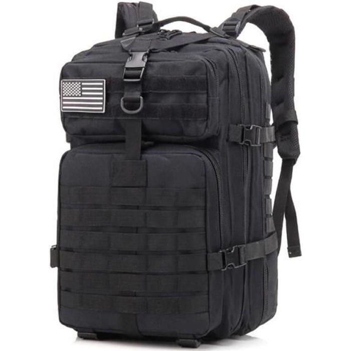 50L sac à dos tactique militaire de grande capacité pour hommes Noir