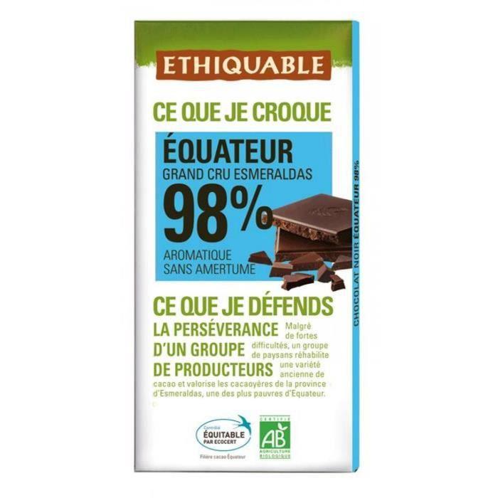 ETHIQUABLE Chocolat noir 98% d'Equateur - Bio - 100g
