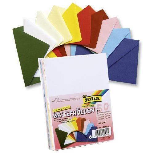 Folia 150599 Enveloppe C6 Gommé Coloris divers Lot de 50 Import Allemagne